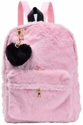 Pink Backpack Purse for Teen Girls Fluffy Fleece Bags Pink Size W $12.00