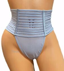 Victorias Secret Luxe Sheer Mesh High Waist Strappy Thong Panty Gray Small