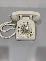 Vintage Rotary Desk Phone White Western Electric Bell System Telephone Works