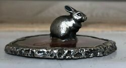 Vintage Miniature Sterling Silver Rabbit /bunny And Rimmed Agate Ornament
