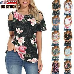 US Women#x27;s Round Neck Cold Shoulder T Shirt Ladies Summer Casual Tops Blouse Tee $12.59