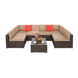 Outdoor All-weather 7 Pieces Patio Furniture Pe Rattan Cushioned Sofa Table Set