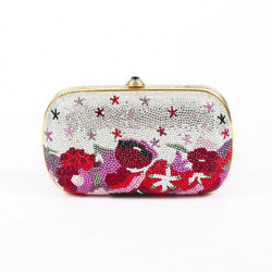 Judith Leiber Floral Multicolor Silver Crystal Minaudiere Evening Bag $565.00