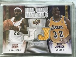 2009-10 Upper Deck Dual Game Materials Lebron James Magic Johnson Dg-jj Patch Nm