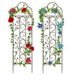 Garden Trellis Metal Set Of 2 For Climbers Vines Fencing Flowers Easy To Mount
