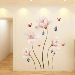 3D Lotus Flower Art Wall Sticker Room Home Background DIY PVC Removable Decal