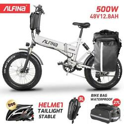 4.0 Fat Tire Folding Electric Bicycle 20in 500w Beach Mountain E-bike 48v12.8ah