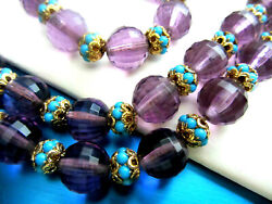 Napier Purple Faceted Lucite And Faux Turquoise Beads Necklace Bracelet Set Nd4