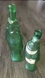 Vintage Antinori Green Glass Fish Wine Bottles From Italy Lot Of 2