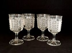 Eapg Glass Duncan And Miller Heavy Paneled Finecut Water Goblets Set Of 4