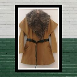 12 Vintage Wool Trench Coat Camel Duster Jacket Fur Collar Lined Winter Blogger