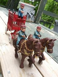 Vintage Cast Iron Overland Circus Horse Drawn Wagon Toy Men Drivers