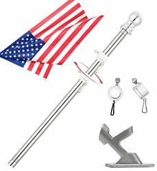 6 Ft Flag Pole With American Flag And Bracket House Tangle-free Flagpole Clips