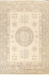 Geometric Muted Khotan Oriental Area Rug Hand-knotted Living Room 9and039x12and039 Carpet