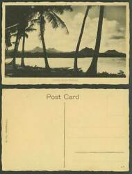 Fiji Old Postcard Rotuma Fijian Coastal Scene Palm Trees Hill Mountains Panorama