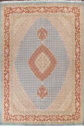 Geometric Tebriz Vegetable Dye Wool/ Silk Hand-knotted Oriental Area Rug 9and039x13and039