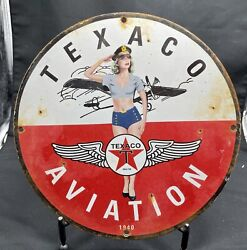 Vintage 1940 And039and039texaco Aviationand039and039 Gas And Oil Pump Plate 12 Inches Porcelain Sign