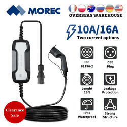 Ev Charger Box 10a/16a Switchable Electric Car Charging Cable Type2 Iec Cee Plug