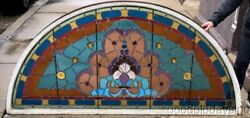 Huge Antique Victorian Stained Leaded Glass Arched Transom Window 7and039 X 40