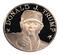 Donald J Trump With Maga Cap Proof 1 Oz .999 Silver Coin Round In Capsule 03