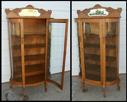 Oak 3 Curve Glass Curio China Cabinet Hand Carved Scroll Beveled Mirror Antique