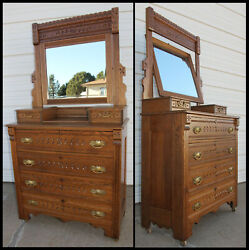 Antique Oak East Lake 1800and039s Hankie Dresser Chest Beveled Mirror And Knapp Joinery
