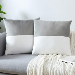 Gray Throw Pillow Covers Sofa Bed Cushion Cover Soft Velvet 2 Pieces New 18x18