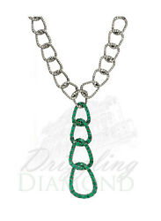 Natural Diamond Emerald 925 Sterling Silver Link Chain Necklace Womens Jewelry