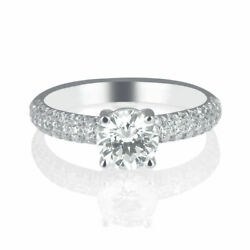 1.02 Ct F/si1 Real Round Cut Diamond Engagement Ring 14k White Gold