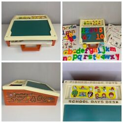 Vintage Fisher Price School Days Play Desk Magnetic Letters/numbers/cards Vgc
