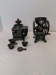 Vintage Miniature Queen Cast Iron Stove And Pots And Pans And Hand Painted Grinder