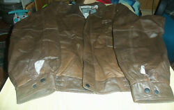 Burk's Bay Leather Bomber Jacket - Embroidered - Enlow Fork Consol Mine - Sz Xl