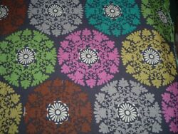 Vtg Hippie Style Pink Teal Lime Lace Doilies on Gray Remnant Fabric 44x15 #PB8