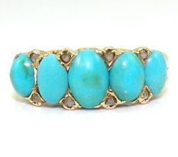 Vtg Antique Victorian Old Rose Cut Diamond And Turquoise 18k Yellow Gold Ring Lje2