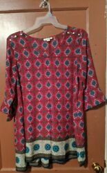 12 14 L XL SIMPLY NOELLE 3 4 SLEEVE TOP 3 BUTTONS ON SHOULDER FOR DECORATION $10.00