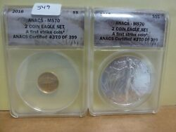 2016 American Eagle 2-coin Set - Gold 5 And Silver 1 -anacs Ms70 - 370 Of 399