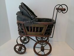 Gorgeous Antique 👀 Vintage Baby Doll Carriage Stroller Buggy Wicker Wood Steel