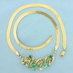 Italian Made 3ct Tw Natural Emerald Necklace In 14k