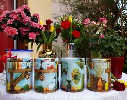 4 Lovely Vintage French Tin Canisters Set Country Cottage Decor 1960s Metalware