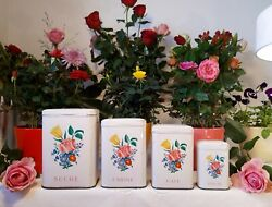 4 Lovely Antique French Tin Canisters Set Flowers Bouquet 1950 Vintage Metalware