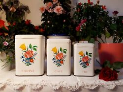 3 Lovely Vintage French Tin Canisters Set Flowers Bouquet 1950 Vintage Metalware