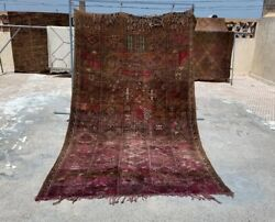 Vintage Authentic Moroccan Boujaad Carpet , Old Rug Hand Woven By Berber Women