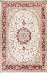 Ivory Wool/ Silk Floral Tebriz Oriental Area Rug Living Room Hand-knotted 9and039x12and039