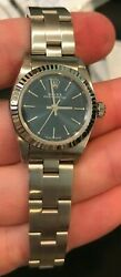 Rolex Stainless Steel/white Gold Ladies Oyster Perpetual Blue Index 26mm 76194