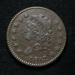 1812 Large Cent Classic Head Soft Copper Issue Vf++ Cn8967