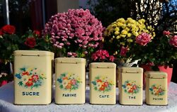 5 Lovely Antique French Tin Canisters Flowers Birds 1950s Vintage Metalware