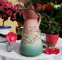 Superb Antique Enameled French Pitcher Pink Turquoise Flowers 1910 No Coffee Pot