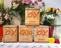4 Charming Antique French Tin Canisters Set Red Flowers 1950s Vintage