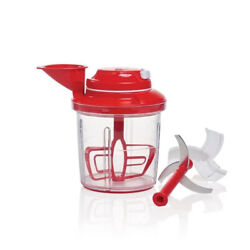 Tupperware Power Chef System Food Processor, Chopper, Mix And Whisk Brand New Red