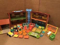 Vtg Fisher Price Little People Play Family House Tudor Lot With Extras